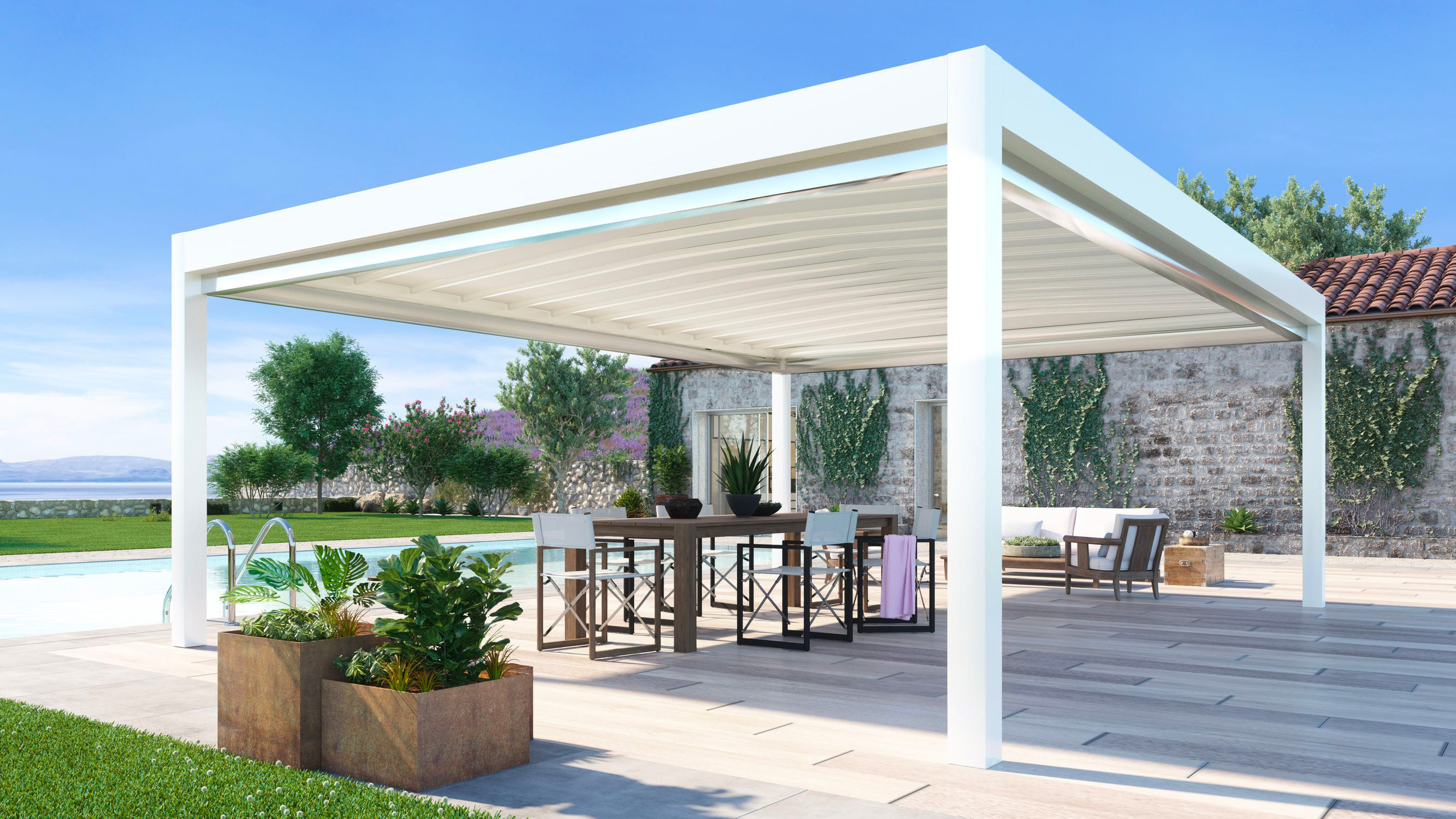 Self-supporting pergola / aluminum / with mobile slats / with sliding canopy